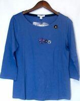 Isaac Mizrahi Live! Size S Cotton/Modal Scoopneck Top Periwinkle Blue A200382