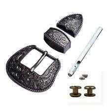 """1-1/2"""" Wide Western Antique Black/Silver Engraved Belt Buckle Set Cowboy buckles"""