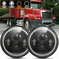 "2x DOT For Freightliner Century 7"" inch  Led Headlight Hi-Lo Halo Angel Eyes"