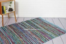 Hand Made Bohemian Cotton Chindi Area Rug in Turquoise, Blue,Multi Indian 5 X 7