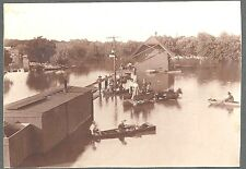 Cabinet Photo of Flooding in Winfield (Kansas?) 1903 Depot, Buggy, Boats +