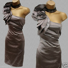Karen Millen Mink Silk Rose Corsage One Shoulder Wiggle Cocktail Dress UK 14