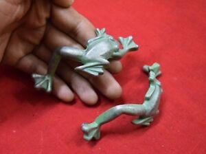 Frog Design Drawer Knobs Green Zinc Australian Frog Pair Of 2 Vintage Look BM181