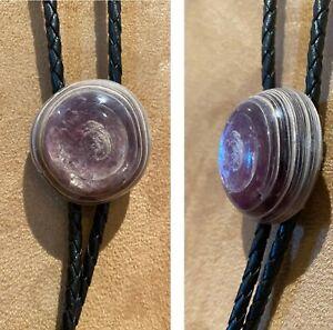 Unusual Unidentified Mineral Bolo Purple Colors, Multi-layers Silver Tone Tips