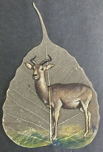 Original Hand-Painting on Pipal Leaf   African Antelope by James Kilonzo  c.1960
