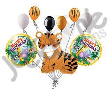 9 pc Gentle Tiger Balloon Bouquet Happy Birthday Jungle Animal Safari Wild Zoo