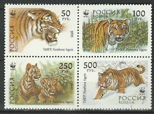 Russia 1993 WWF Tigers 4 MNH stamps