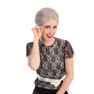 Grey Old Lady Wig Granny Grandma Nan Fancy Dress Accessory Wig Bun