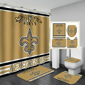 New Orleans Saints Bathroom Rugs 4PCS Shower Curtain An-Skid Toilet Seat Cover
