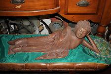 Large Hindu Buddhist Wood Carving-Woman God Lying-Chinese India-Spiritual