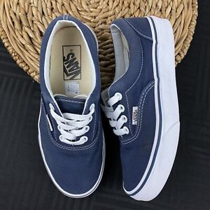 Vans Classic Navy Blue Canvas Lace Up Sneakers Shoes Mens 3.5 Womens 5