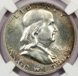 1962-P 1962 Franklin Half Dollar NGC MS63 Beautiful color!