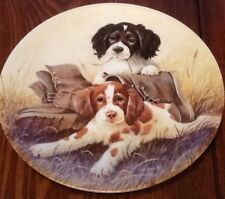 LYNN KAATZ Field Trips Innocent-Looking Pair Brittany Puppies PUPS N BOOTS Plate