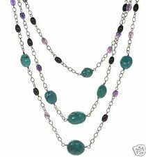 Solid 925 Sterling Silver Turquoise Amethyst Onyx Triple Strand Necklace .