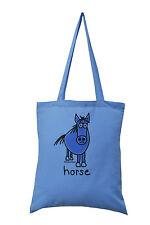 """NUOVO Tote Bag: """"Horse!"""" BLU, 100% COTONE"""