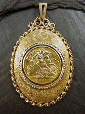 Full Sovereign Pendant 1931 22ct Gold in 9ct Mount Hallmarked 1977