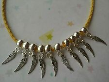 12 Tibetan Silver Angel Wing Charms With Silver Plated Acrylic Smooth Bail Beads