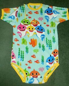 """Adult baby FLEECE BODYSUIT BABY SHARK  CHEST 47""""  TORSO 39"""""""