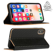 New Carbon Fibre Ultra Slim Book Full Cover By Gorilla Tech For iPhone & Samsung