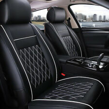 7X Luxury Leather Black 5 Seat Cover Soft 3D Surround Car Front Rear Cushion UK