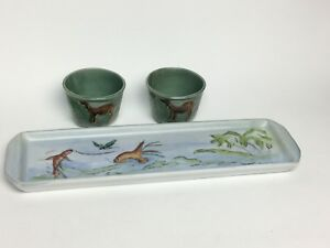 Long Ceramic Tray and 2 Small Cups Fish and Camel Design Mint Green - Japan