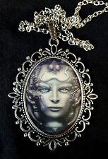 H R Giger Li 1 Antique Silver Pendant Necklace Science Fiction Biomechanical
