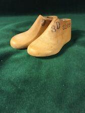 Pair Vintage Wood Child's Size 3 D Shoe Factory Industrial Mold Last