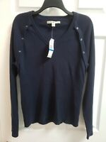 NWT Tommy Hilfiger Womens Navy Long Sleeve V-neck Sweater Size XL C7-13