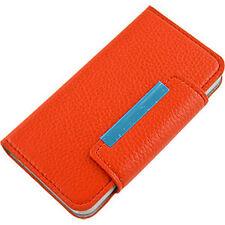 For Apple iPhone 5 5S SE Premium Wallet Case Pouch Flip Cover Orange
