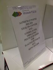 8 X A4 COUNTER ANGLED POSTER HOLDER LEAFLET MENU DISPLAY RETAIL PERSPEX STAND