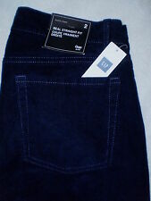 Gap Brand Real Straight Fit Low Corduroy Navy Blue Jeans Size 2 X 31 New $55