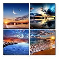 Canvas Wall Art With Frame 4Pcs Prints Home Decor Posters New Abstract Picture