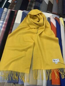 100% Pure Cashmere Scarf   Johnstons of Elgin   Made in Scotland    Yellow