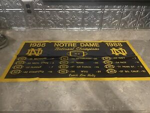 """VINTAGE NOTRE DAME 1988 NATIONAL FOOTBALL CHAMPIONS  BANNER 17 1/2"""" X 36"""""""