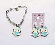 Hello Kitty Blue Heart Earrings And Bracelet Set With Free Organza Gift Bag New