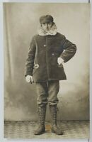 Rppc Attractive Young Man Winter Gear High Boots Gloves Real Photo Postcard O7