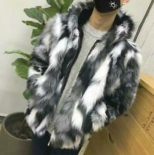 Men's Faux Fur Furry Hooded Warm Thicken Coat Jacket Outwear Zip Up Parka Size