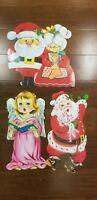 "Vintage Mid Century Santa Die-cut Christmas Decoration Cardboard 15"" Angel"