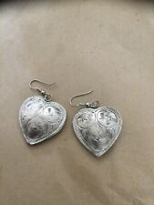 Silver Heart Drop Earrings Hand Tooled Western Looking