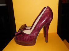 FENDI Snakeskin Double Platform Bow Belle Peep Toe Pumps Shoes Bordeaux 38.5 EU