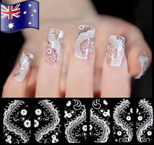 TRANSPARENT 3D NAIL WRAP Nail Art Stickers Lace Bling Fishnet Decals Manicure