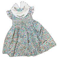 Vintage Christie Brooks Floral Smocked 4T Toddler Dress