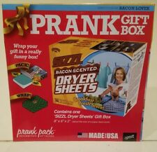 """Prank /Joke Gift Box, BACON SCENTED DRYER SHEETS - Small size, 8"""" x 6"""" x 2"""" NEW"""