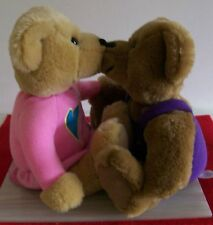 Hallmark Pair Kiss Kiss Stuffed Plush Teddy Bears Boy and Girl Magnetic Noses