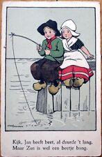 1932 Ethel Parkinson/Artist-Signed Postcard: Dutch Children Fishing from Pier