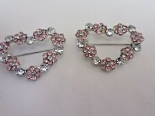 "Rhinestone Pin Brooch (2 pieces) 1 1/4"" Wide Heart Shaped Flower"