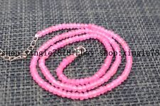 "Fine Beautiful 2x4mm Pink Jade Faceted Roundel Gems Beads Necklace 20"" AAA++"