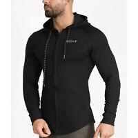 Men's Gym Slim Fit Hoodie Full Zip-Up Long Sleeve Athletic Jersey Jackets