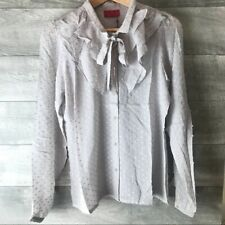 NWT-$175 Tigerlily 100% silk marble ruffle button down top- Size: 6 10AUS