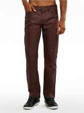 Guess Men's Rockford Coated Slim Straight Jeans Del Mar Fit In Maroon Size 31X30